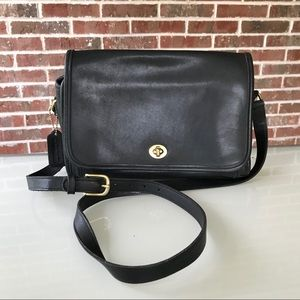 Vintage Coach Black Leather Crossbody
